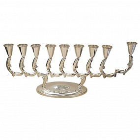 Silver Menorah with Three Tiered Base
