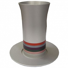 Anodized Aluminium Kiddush Cup with stripes and matching plate