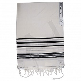 100% Wool Tallit - Black and Silver