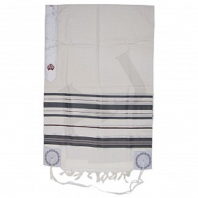 100% Wool Tallit - Grey and Maroon Stripes
