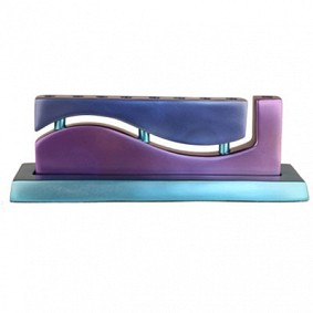 Anodized Aluminium Chanukah Menorah - Wave